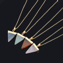 Wholesale Triangle Circle Pendant - Natural Stone Crystal Quartz Healing Point Chakra Gemstone Gold Plated Triangle Pendant Necklaces stone-style Jewelry Cristal Jewellry A294