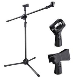 Suporte de braço on-line-Alta Qualidade Microfone Boom Stand Robusto Altura Ajustável Micr Arm Tripod Base Estágio Estúdio Titular Clipe