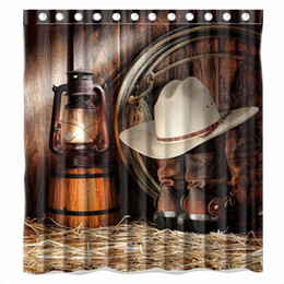 "Wholesale Thick Polyester Shower Curtain - Wholesale- WARM TOUR West Rodeo Cowboy Shower Curtain Waterproof Thick Bath Curtain With Hooks Ring (71""x 71"")"