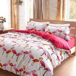 Wholesale bird bedding sets - Wholesale- Luxury Flamingo bird bedding set Queen king size cotton flat sheets Duvet Cover pillowcase bed linen bed set bedclothes 4pcs