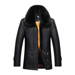 Wholesale Mens Thick Lined Winter Coat - Mens Winter Coats Sheepskin Leather Jackets Real Rabbit Fur Lining Detachable Snow Overcoat Super Warm Outwear Tops 2017 Newest