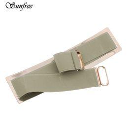 Wholesale Elastic Mirror Metal Belt - Wholesale- Sunfree 2016 Hot Sale New Women Waistband Gold Metal Elastic Strap Clasp Closure Mirror Belt Brand New High Quality Nov 22