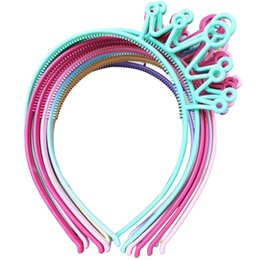 Wholesale Hair Accessories Materials - XIMA12pcs lot Spring Colors ABS Plastic Material Crown Girls Headbands Tiaras Head Band Princess Children Hair Accessories