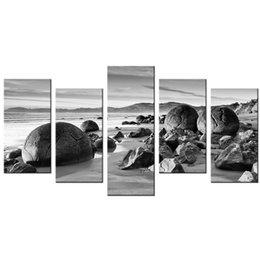 Multi painel praia pintura on-line-Praia de Imagem de Pedra Arte Da Lona Impressão Seabeach Seascape Impresso na Lona Multi-Painel de Lona Pintura para Decoração
