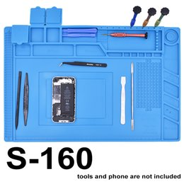 Wholesale magnetic pads - New Arrived S-160 45 x 30cm Blue Rubber Silicone Pad with Magnetic Repair Mat Heat Insulation BGA Soldering Repair Station 5pcs lot