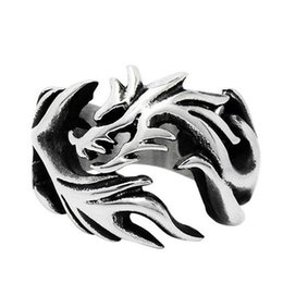 Wholesale Mixed Color Silver Rings - Retro Dragon Ring For Men Stainless Steel Rings Jewelry Birthday Gift Vintage Style Steel Ring Silver Color SA126