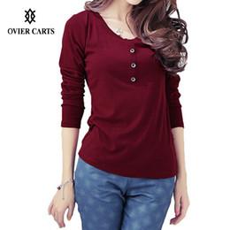 Wholesale Womens Top Decoration - Wholesale-t shirts Plus Size Womens Tops Long Sleeve Fashion O Neck Button Decoration Women Casual tshirt Burgundy Purple Black Red