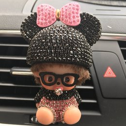 Wholesale Wholesale Air Conditioners - Rhinestone Mickey Air Outlet Perfume Exquisite Car Perfume Car Mounted Drilling Perfume Air Conditioner Car Air Freshener styling