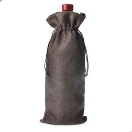 Canada 500 pcs Jute Vin Sacs Champagne Bouteille de Vin Couvre Cadeau Poche jute Emballage sac De Fête De Mariage Décoration Offre