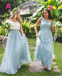 Wholesale long maxi cheap dresses - 2017 Maxi Dusty Blue Tulle Bridesmaid Dresses One Shoulder Floor Length Maid Of Honor Forest Wedding Party Wear Cheap Hot Sale
