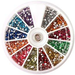 Wholesale 3d Color Nail Acrylic - Wholesale- Top Nail 12 Color 2mm Glitter Acrylic Drill Wheel Nails Manicure Tips Tools For Charms 3D Nail Art Decorations ZP047
