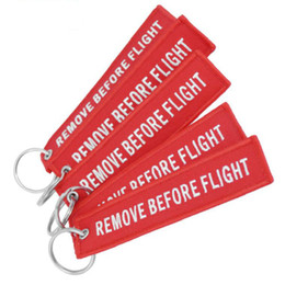 keychains tags Coupons - Remove Before Flight Chaveiro Tag Embroidery Keychain Key Ring for Aviation OEM Key Chains Jewelry Luggage Tag Key Fob 10 PCS LOT