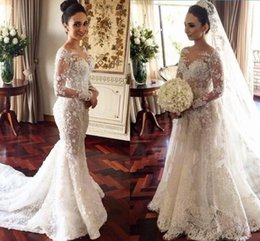 Wholesale Modern Retro Style - Retro Full Lace Wedding Dresses Long Sleeves Two Style Mermaid Or A Line Bridal Gowns Illusion Neck Court Train Wedding Vestidos custom made