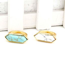 Wholesale Green Gemstone Silver Ring - High quality kendra scott Druzy Stone ring Geometric scott Gemstone rings Silver Plating white turquoise finger rings jewelry gift