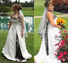 Wholesale Cheap Beach Halter Wedding Dresses - Country Style Camo Wedding Dresses Halter A Line Sweep Train Camouflage Satin Plus Size Wedding Bridal Gowns Custom Made 2017 Cheap