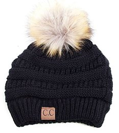 Wholesale Knit Fur Hats Women - Winter Warm Thicker Soft Stetch Cable CC Beanies Hats Women Faux Fur Pom Pom Knitted Skullies Caps