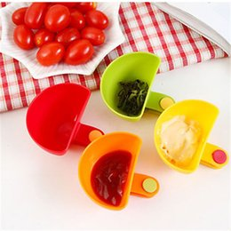 Wholesale Wholesale Sugar Bowls - 4 Colors Dip Clips Kitchen Bowl Kit Tool Small Dishes Spice Clip For Tomato Sauce Salt Vinegar Sugar Flavor Spices Cooking Tools