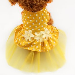 Wholesale white dot tutu skirt - armipet Yellow Polka Dot Tutu Lace Dog Dress Princess Dresses For Dog 6071013 Pet Costume Skirt Supplies