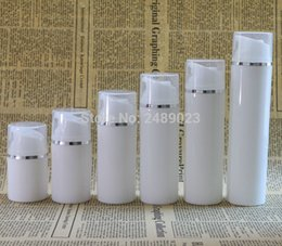 Wholesale Packaging Bottles Wholesale Silver Plastic - Wholesale- White Plastic Airless Bottle With Silver Line Empty Cosmetic Containers Transparent Cap Cosmetic Packaging 100 pcs lot