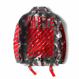 Wholesale Men S Camouflage Jackets - High Quality Mens Womens Justin Bieber Camouflage Off-White Jacket Kanye West Fashion Military Camo Off White Jackets And Coats