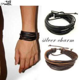 Wholesale Tribal Bracelets For Men - Wholesale-1 pcs Hot Unisex Surfer Tribal Wrap Multilayer Genuine Leather Bracelet For Woman Man 2 Colors