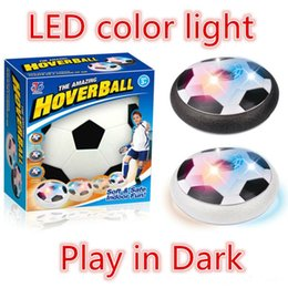 Wholesale Light Up Football Toy - Creative LED Light Up Toys Bright Light Suspension Football Electric Soccer Kids Boys Indoor Toy Good Sprot Ball Air Power Soccer Flying Toy