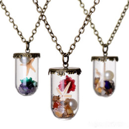 Wholesale Bottled Pearl Necklace - 2017 sea world dry flower starfish pearl wish drift bottle glass Necklaces for women lover locket DIY jewelry Christmas gift