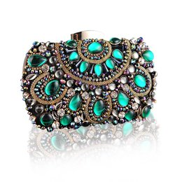 Wholesale Handmade Silk Handbags - New Vintage Handmade Rainstone Evening Bag Green Stone Crystal Luxury Clutch Bag Diamond Ladies Handbags Party Purse Wedding Bag