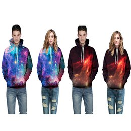 Wholesale Galaxy Mens Sweatshirts - 2017 new arrival soft material cotton plend hoodie 3D print galaxy night high quality hoody unisex mens womens casual pullover sweatshirts
