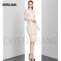 Wholesale Lace Evening Shawls - CRYSTAL JIANG 2017 New Arrival Fashion Lace shawl Polyester Dress with Wrap Zipper Embroidery Elegant Classical Evening Dresses