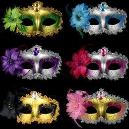 Wholesale Masquerade Rhinestones - Venetian Face Mask Fashion Lily Flower Crystal Rhinestones Decor Venetian Lace Face Mask for Halloween Masquerade Costume Party OTH595