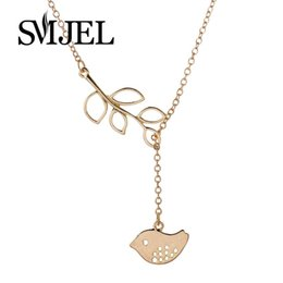 Wholesale Bird Branches Necklace - Wholesale-2016 New Fashion Little Bird With Branch Pendant Necklace Tiny Animal Necklaces for women N028