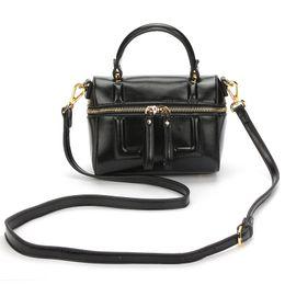 Wholesale China Blue Leather Bag - 2017 new Korean minimalist fashion PU all-match double zipper Boston bag shoulder bag manufacturing China cross