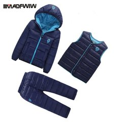Wholesale Long Hooded Down Vests - Wholesale- 3 Pcs  set 2016 Winter Children Down Cotton Set Kids Girls Boys Snowsuit Hooded Warm Cotton-padded Coat+Vest+Pants 3PCS Suits