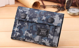 Wholesale Brown Female Leather Wallet - Students' sports fashion and leisure camouflage canvas bag wallet female Korean short wallet men tide purse