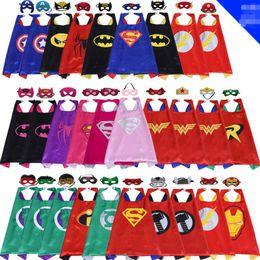 Wholesale blend mask - 70*70CM double side Super hero Capes and mask set Superhero cosplay capes+mask Halloween cape mask for Kids 2pcs set
