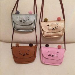 Wholesale Everweekend Girls Pu Leather Hangbags Cute Cats Purse Cross Body Bags Candy Color Cross Bags Sweet Children Fashion Accessories