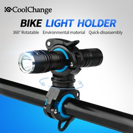 Wholesale Double Bicycle Light - CoolChange Bike Cycling 360 Rotating Light Double Holder LED Front Flashlight Lamp Pump Handlebar Holder Bicycle Accessories
