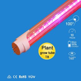 Wholesale T8 Led Light Tube Red - led grow light 2ft 4ft 5ft T8 Integrated Led Tube Grow Lights SMD2835 18W 27W 36W Hidroponia Plants Hydroponic Grow Box AC 90-265V