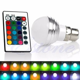 led bayonet bulbs prices - Wholesale- Bayonet Remote Control 3W 16 Colors Changing RGB Globe Lamp LED Light Bulb