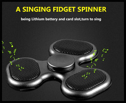 Wholesale Loud Clear - loud clear sound LED Bluetooth Speaker Music Hand Spinner Triangle Tri Spinners Fingertips Spiral Gyro EDC Finger Fidget Toy HandSpinner