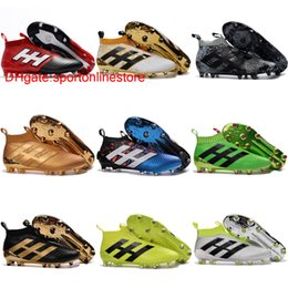 Wholesale Green Messi Soccer Shoes - Laceless 2017 Hot ace 16   17 + PureControl FG soccer shoes Original mens soccer cleats ACE 17.1 high top football boots golden messi Boots