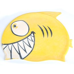 Wholesale Pure Fishing - Wholesale- Hot Sale Cute Lovely Cartoon Fish Swimming Cap for Kids Children Pure Silicone Bathing Cap Swim Sports Accessories Random Color