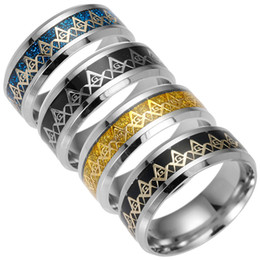 Gold freimaurerei klingelt online-Edelstahl Freimaurer Ring Silber Gold Freimaurer Zeichen Ringe Band Ringe für Frauen Männer Fashion Jewely 080176