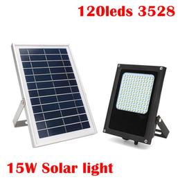 Wholesale Wholesale Led Floodlight Sensor - Umlight1688 15W 120 LED Solar Light 3528 SMD Solar Powered Panel Floodlight Body Sensor Outdoor Garden Landscape Spotlights Lamp