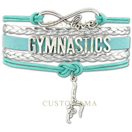Wholesale Charm Cords - Custom-Infinity Love Gymnastics Charm Wrap Bracelet Gift for Gymnast Wax Cords Braided Leather Adjustable Bracelet Bangles-Drop ShippingCust