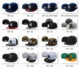 Wholesale Ny Hat Adjustable - 2017 Wholesale Yankee Fitted Caps Cheap Baseball Cap Embroidered Team NY Letter Size Flat Brim Hat Hiphop Baseball Cap Full Closed