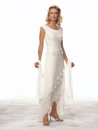 Wholesale Sheath Hi Lo - Mother of The Bride Dresses With Chiffon & Lace Scoop Nevk Hi-Lo With Lace Cheap Wedding Guest Dresses #DL30072