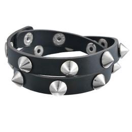 Wholesale Spiked Wristbands - Wholesale-Gothic Punk Metal Cone Stud Spikes Rivet Leather Bracelet Wristband Cuff Bangle Cool Men Women Multilayer Bracelet