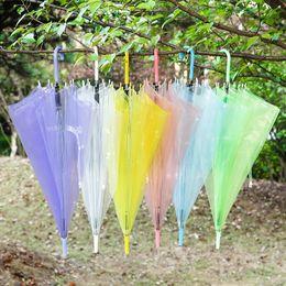 Wholesale Clear Plastic Umbrellas Wholesale - 2017 Transparent Clear Umbrella Dance Performance Long Handle Umbrellas Colorful Beach Umbrella For Men Women Children Kids Umbrellas 087